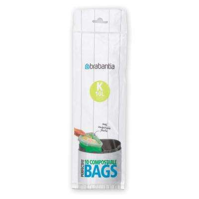 2.6 Gal. (10L) Compostable Perfectfit Trash Can Liners Code K 120 Liners (12-Packs of 10 Liners)