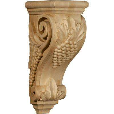 7 in. x 5 in. x 14 in. Unfinished Wood Red Oak Large Grape Corbel