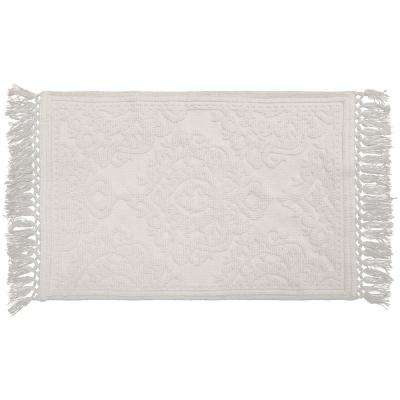 Ricardo Cotton Fringe 27 in. x 45 in. Bath Rug in White