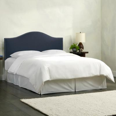 Lily Linen Navy King Headboard with Pewter Nail Buttons