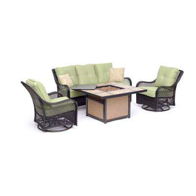 Orleans 4-Piece All-Weather Wicker Patio Fire Pit Conversation Set with Avocado Green Cushions and Table