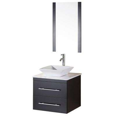Elton 24 in. W x 22 in. D Vanity in Espresso with Marble Vanity Top and Mirror in Carrera White