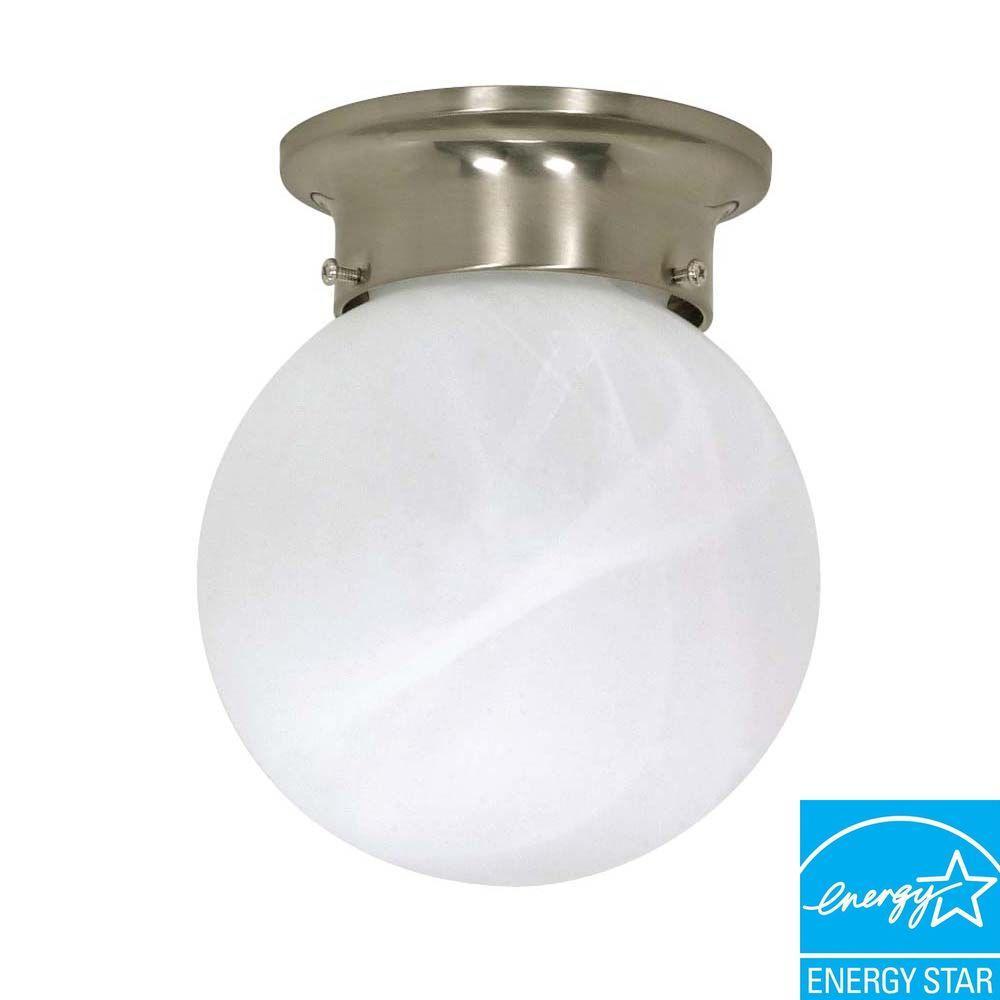 Green Matters Elektra 1-Light Brushed Nickel Globe Flushmount