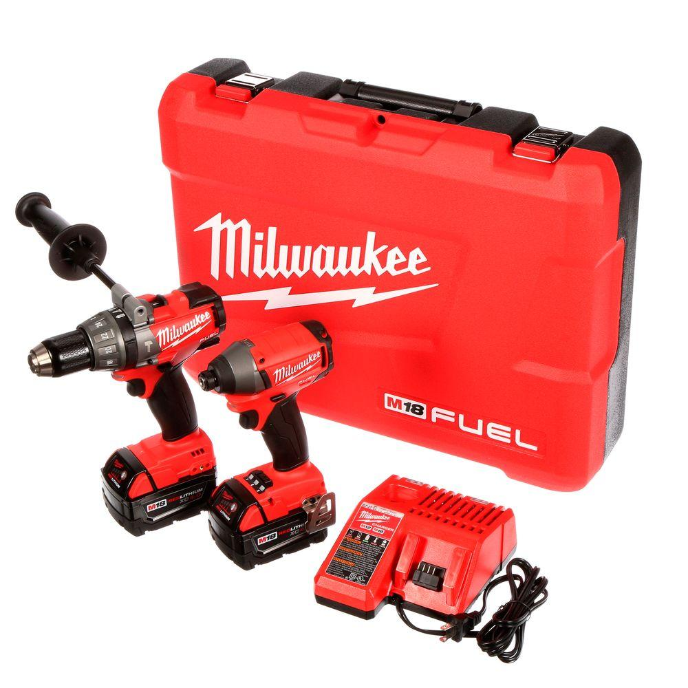 Milwaukee M18 FUEL 18-Volt Lithium-Ion Brushless Cordless Hammer Drill/Impact Driver XC Combo Kit