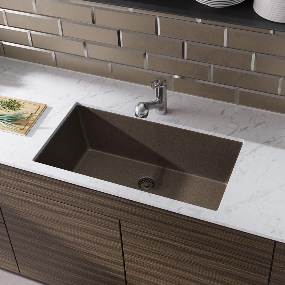 Rene Undermount Composite Granite 32-5/8 in. Single Bowl Kitchen Sink in  Umber