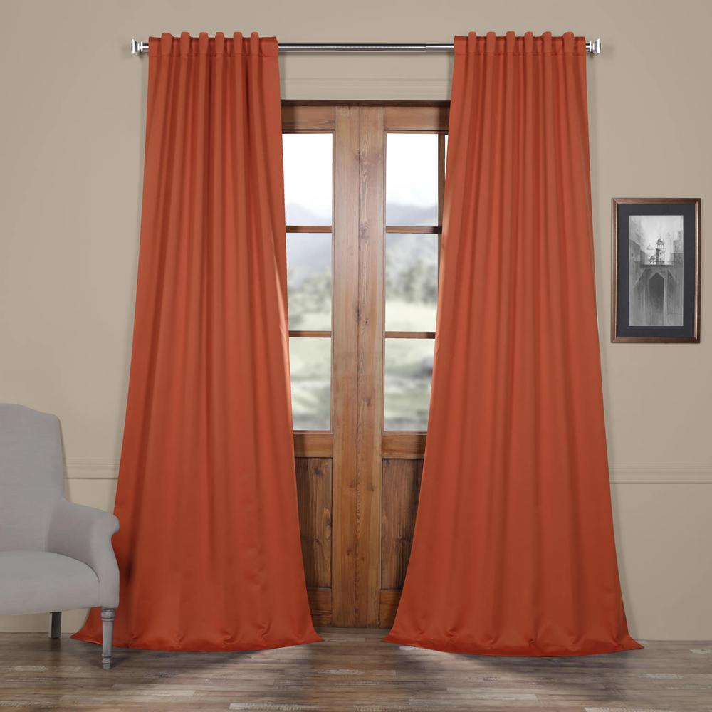 Navajo Rust Orange Blackout Room Darkening Curtain - 50 in. W x 108 in. L