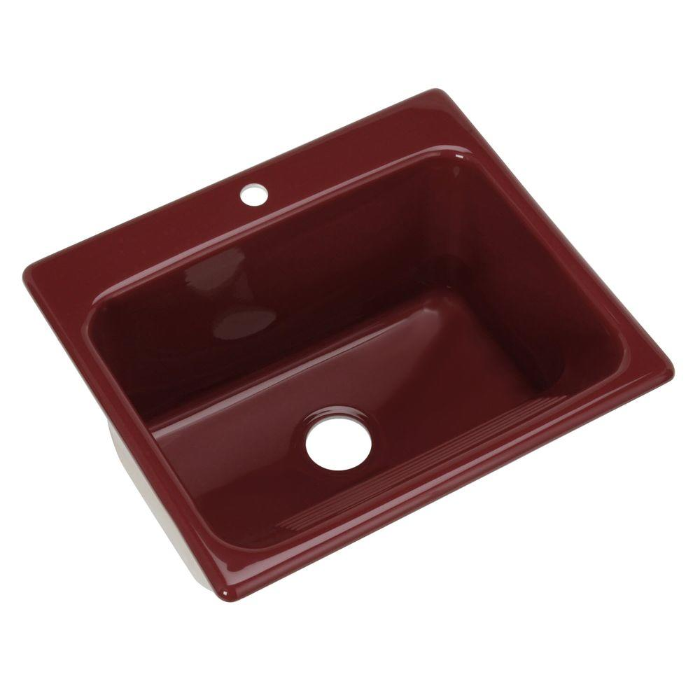 Thermocast Kensington Drop-In Acrylic 25 in. 1-Hole Single Bowl Utility Sink in Ruby