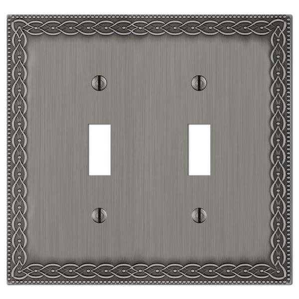 Amelia 2 Gang Toggle Metal Wall Plate - Antique Nickel