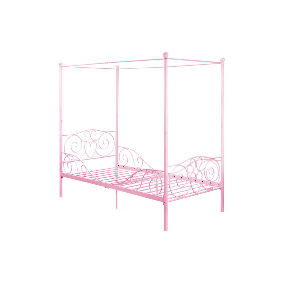 Pink Twin Size Metal Bed Frame Pink Finish Capri