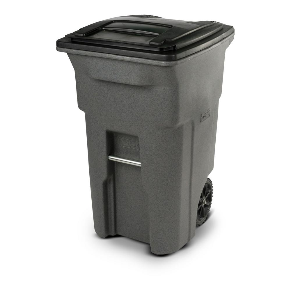 Toter 64 Gal Graystone Trash Can With Wheels And Attached