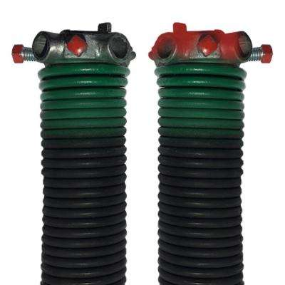 0.243 in. Wire x 1.75 in. D x 35 in. L Torsion Springs in Green Left and Right Wound Pair for Sectional Garage Doors