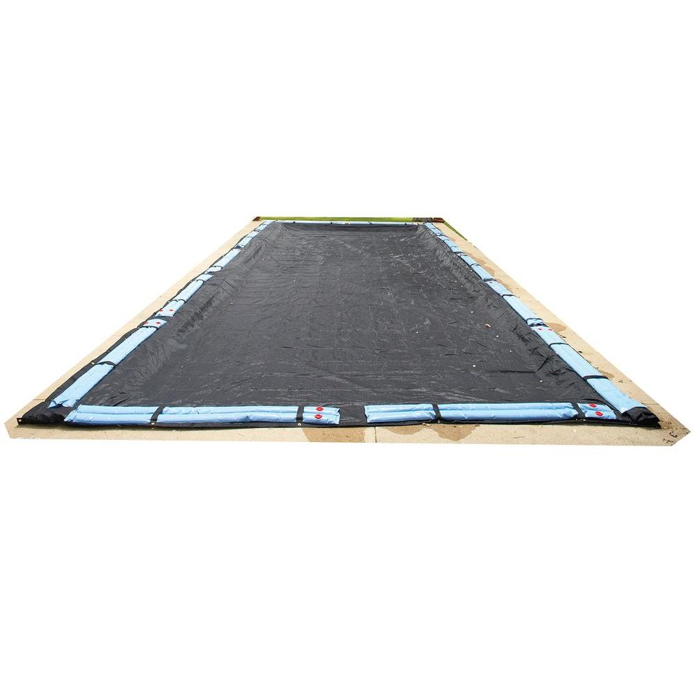 Blue Wave 12 ft. x 20 ft. Rectangular Black Rugged Mesh In Ground Winter Pool Cover