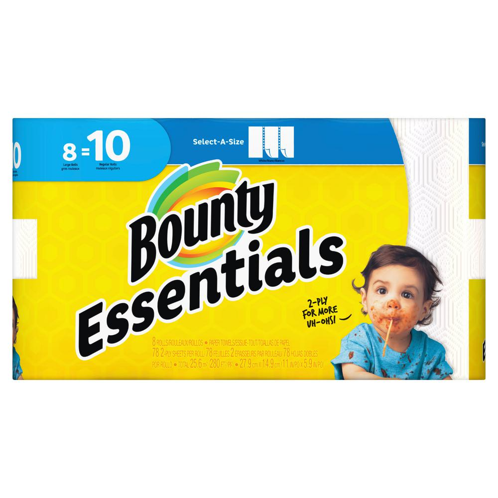 Essentials Select-A-Size White Paper Towels (8-Large Rolls)