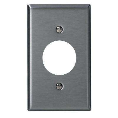 1-Gang Standard Size Stainless Steel Wall Plate and 1-Single Receptacle in Stainless Steel