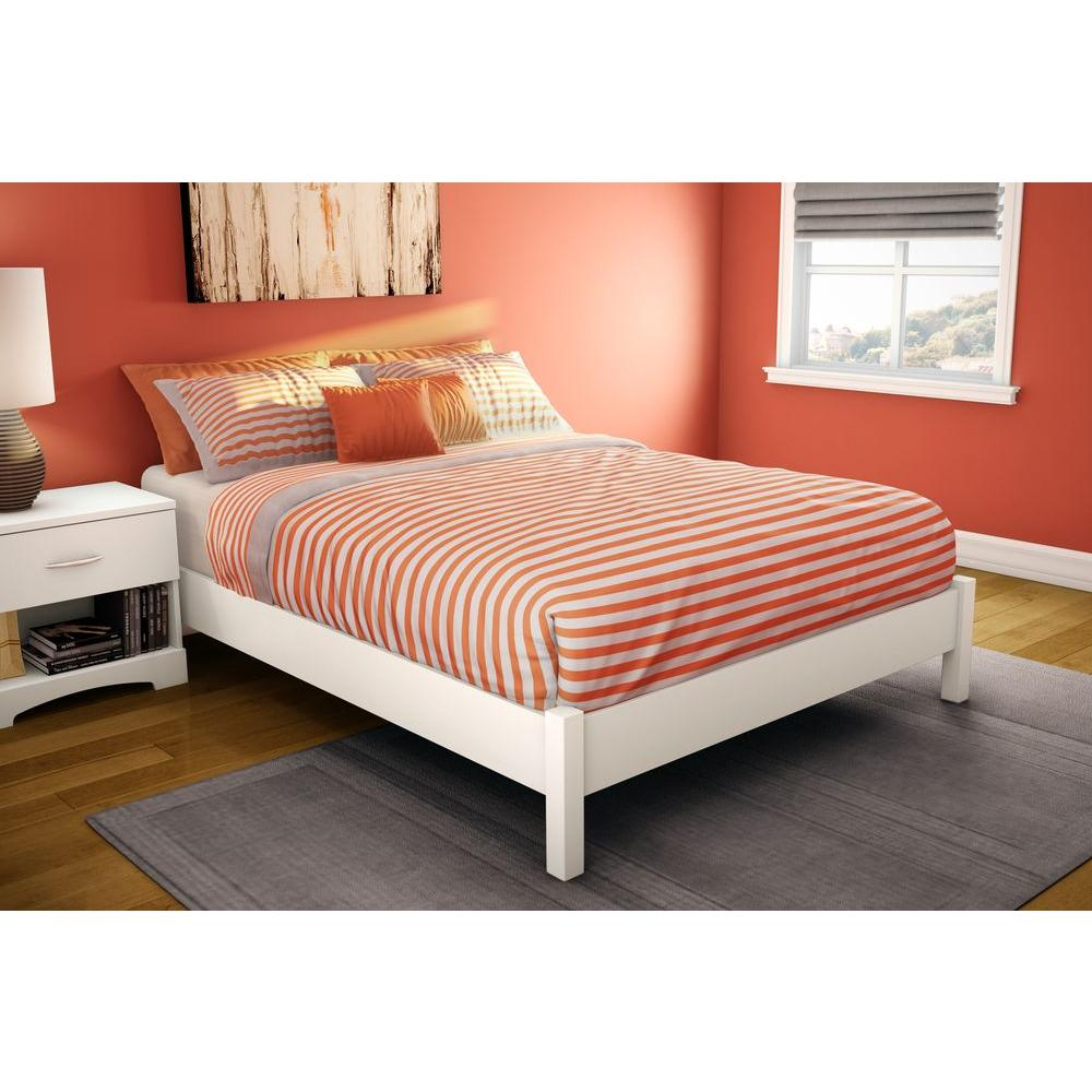 South Shore Step One Full Size Platform Bed In Pure White 3050204