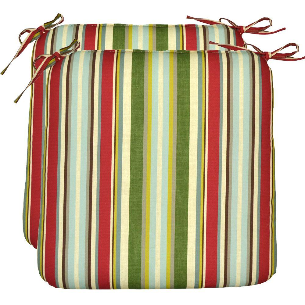 Plantation Patterns Grove Stripe Outdoor Seat Pad (2-Pack)-DISCONTINUED