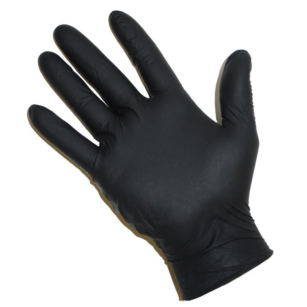 Powder Free Black Nitrile Disposable Gloves, Large - 100 Ct. Box,