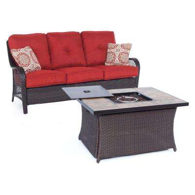 Orleans 2-Piece All-Weather Wicker Patio Woven Fire Pit Seating Set with Autumn Berry Cushions