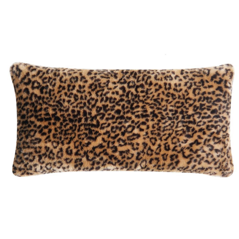Tahiti Multi-Colored Cheetah 16 in. x 32 in. Fur Bolster Pillow