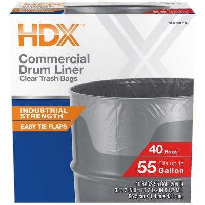 55 Gallon Clear Heavy-Duty Flap Tie Drum Liner Trash Bags (40-Count)