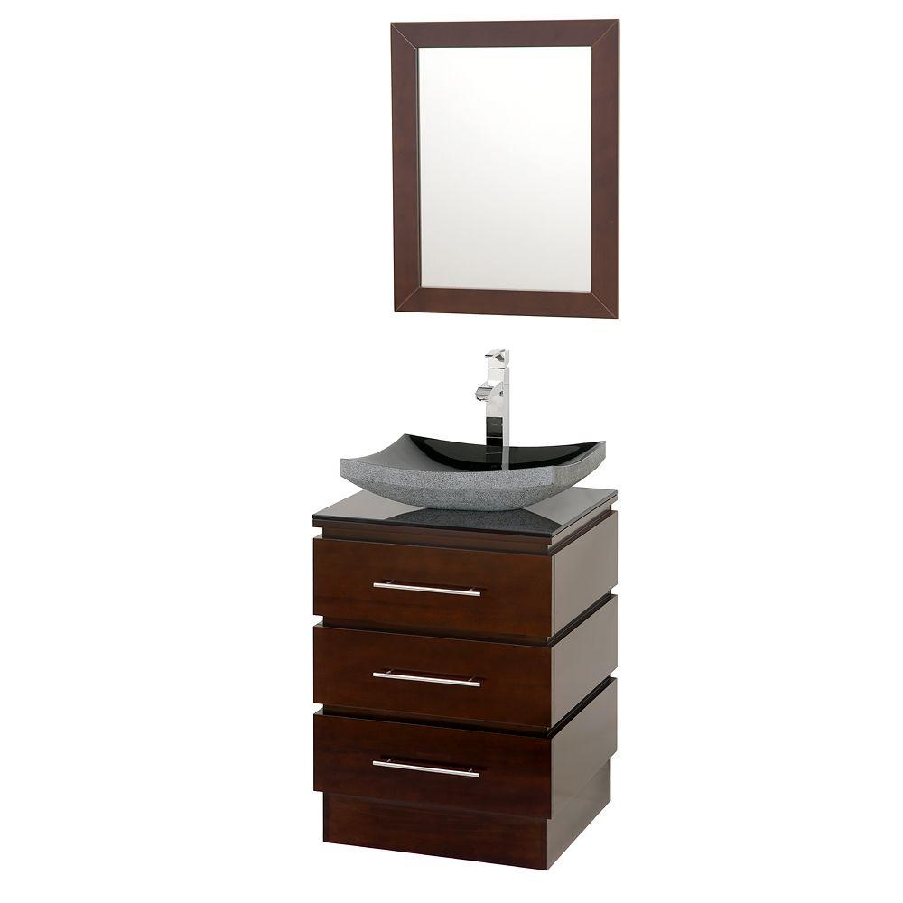 Wyndham Collection Rioni 22-1/4 in. Vanity in Espresso with Glass Vanity Top in Black and Mirror