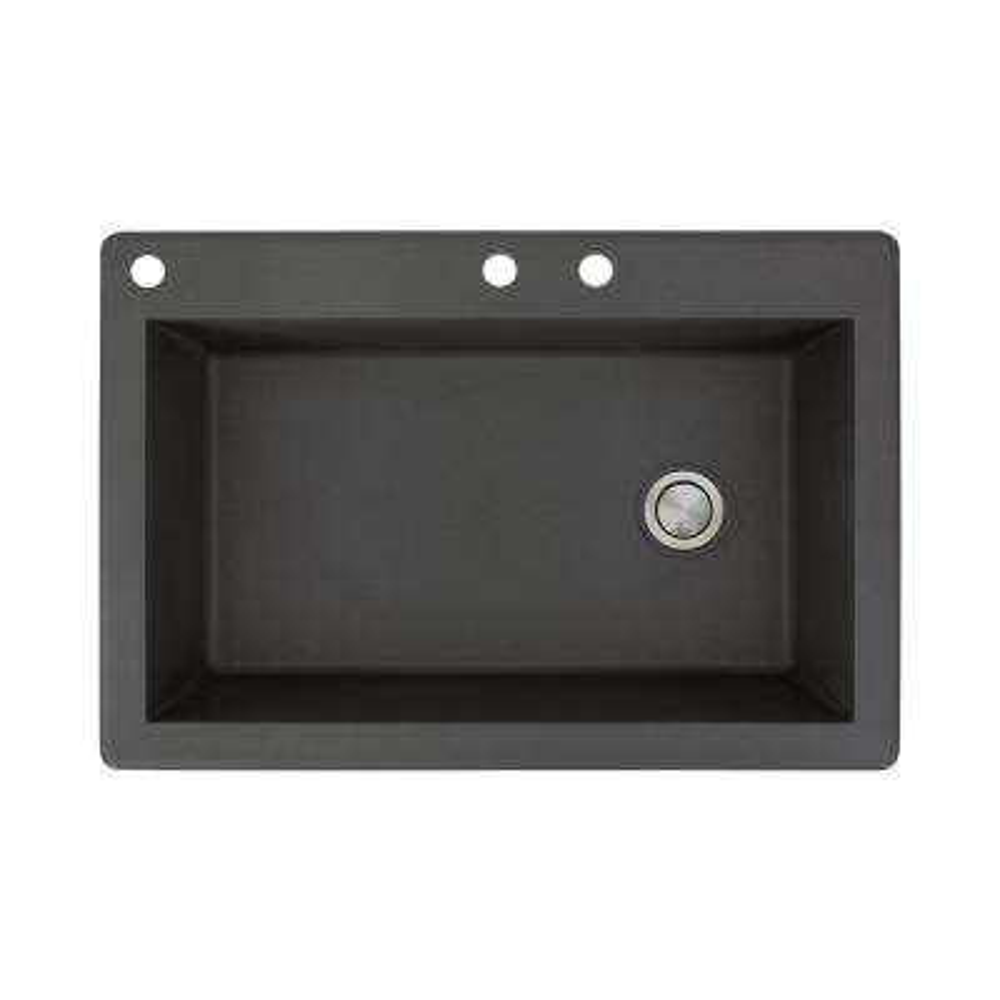 Radius Drop-in Granite 33 in. 3-Hole Single Bowl Kitchen Sink in Black