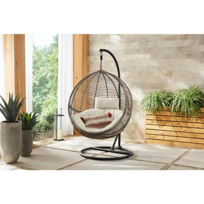 Brown Wicker Round Outdoor Patio Egg Lounge Chair Swing with Biscuit Tan Cushions