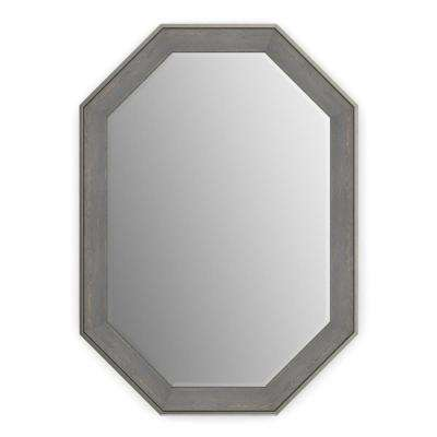 33 in. x 46 in. (L3) Octagonal Framed Mirror with Deluxe Glass and Float Mount Hardware in Weathered Wood
