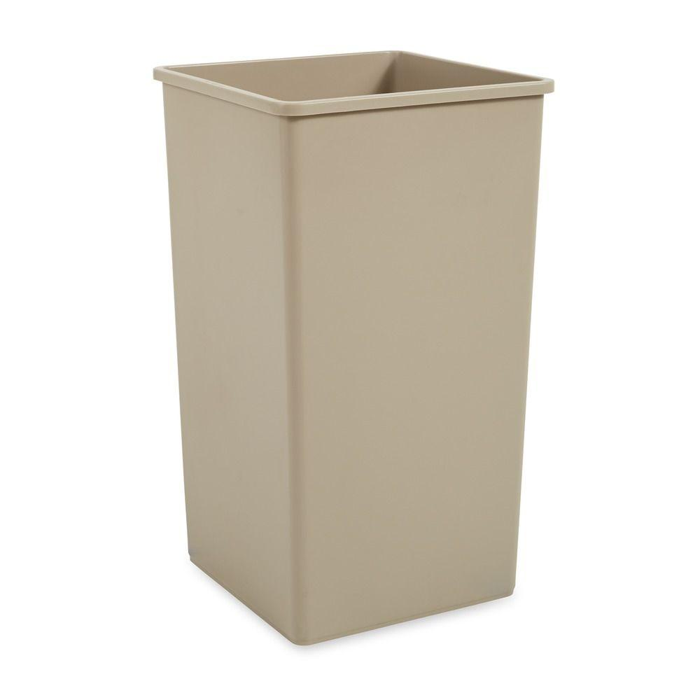 Untouchable 50 Gal. Beige Square Trash Can, Beige/Bisque