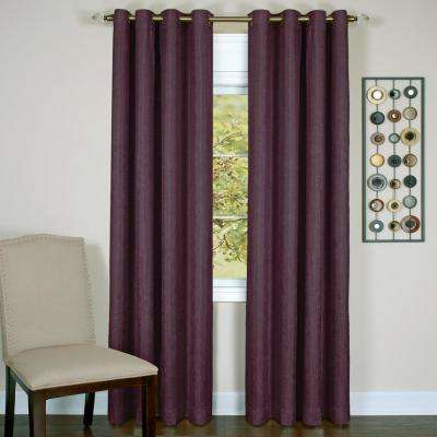 Taylor Aubergine Polyester Lined Grommet Panel - 50 in. W x 84 in. L