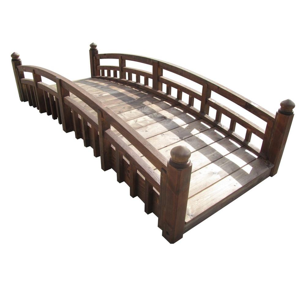 taiko japanese wood garden bridge with split railings and finials