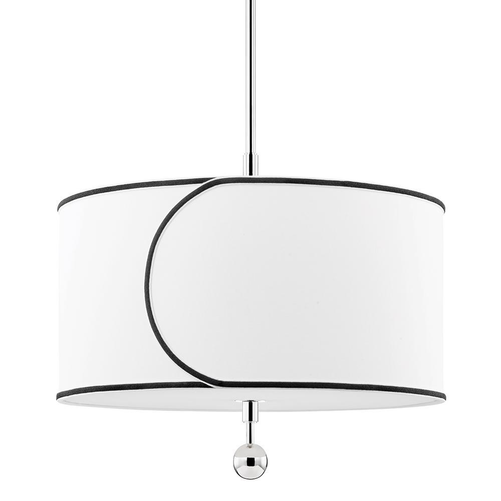 Zara 3-Light Polished Nickel Geometric Pendant with Fabric Shade