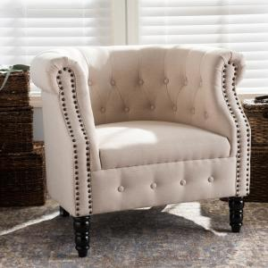 Baxton Studio Chesterfield Traditional Beige Fabric Upholstered Accent Chair by