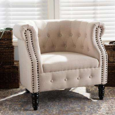 Chesterfield Beige Fabric Upholstered Accent Chair