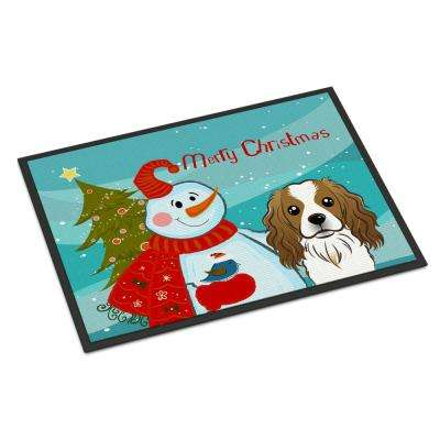 18 in. x 27 in. Indoor/Outdoor Snowman with Cavalier Spaniel Door Mat
