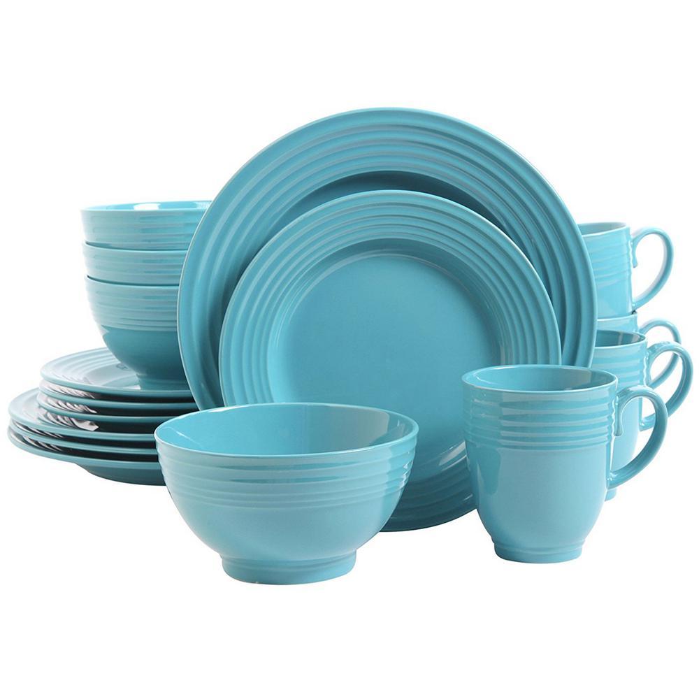 Stanza 16-Piece Turquoise Dinnerware Set