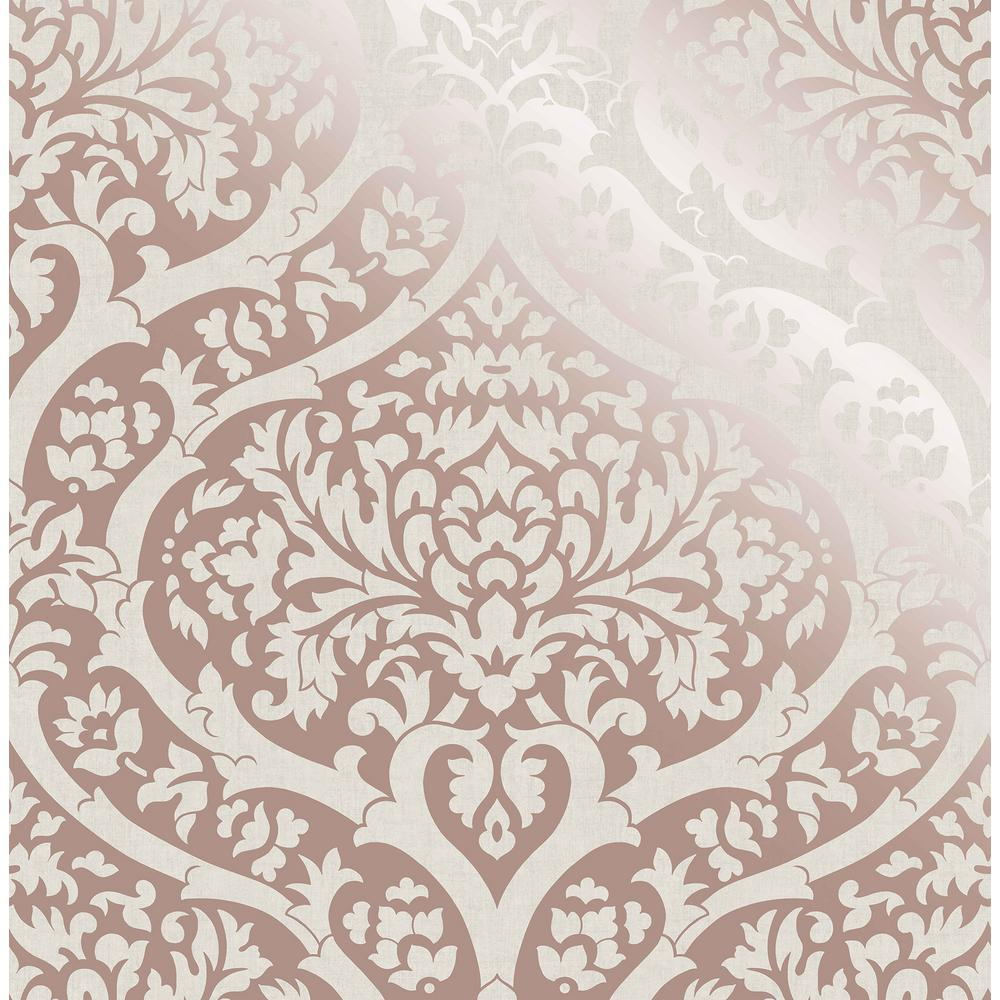 Fine Decor Sandringham Rose Gold Damask Wallpaper Sample 2900