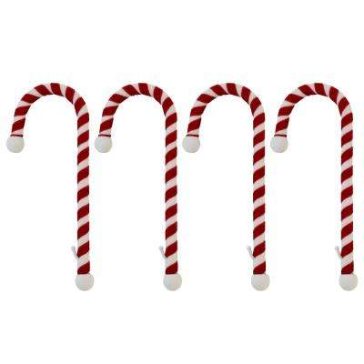 9 in. Steel Core Red and White Candy Cane Stocking Holder (4-Pack)