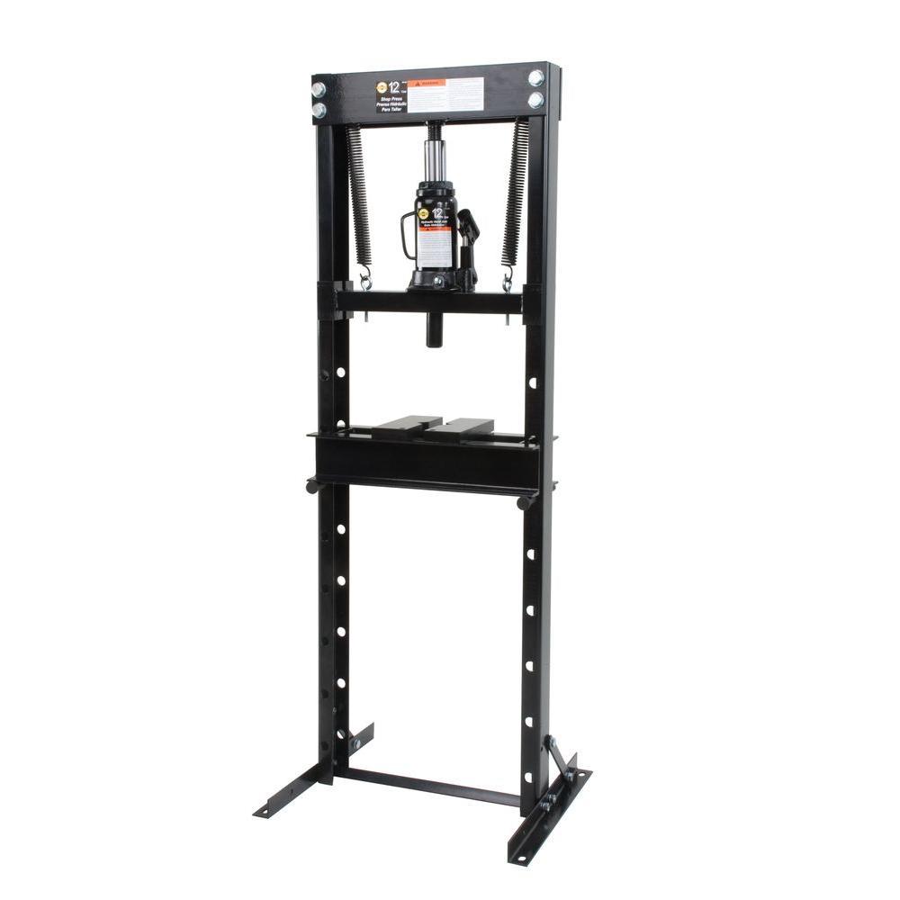 Omega 12 Ton Shop Press with Hydraulic Bottle Jack