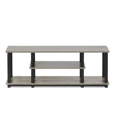 Turn-N-Tube 44 in. French Oak Gray and Black Particle Board TV Stand Fits TVs Up to 55 in. with Open Storage