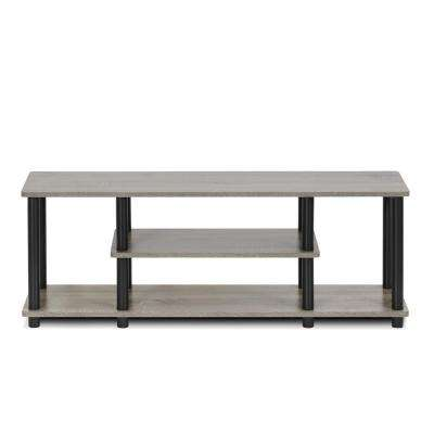 Turn-N-Tube French Oak Grey and Black Shelved Entertainment Center