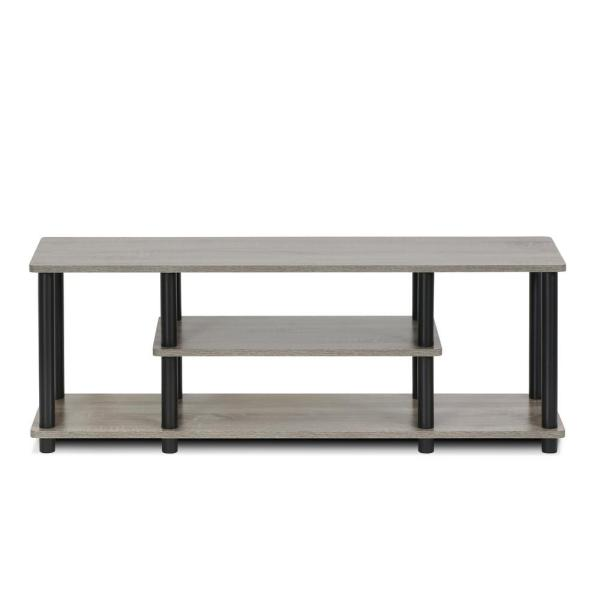 Furinno Turn-N-Tube French Oak Grey and Black Shelved Entertainment Center
