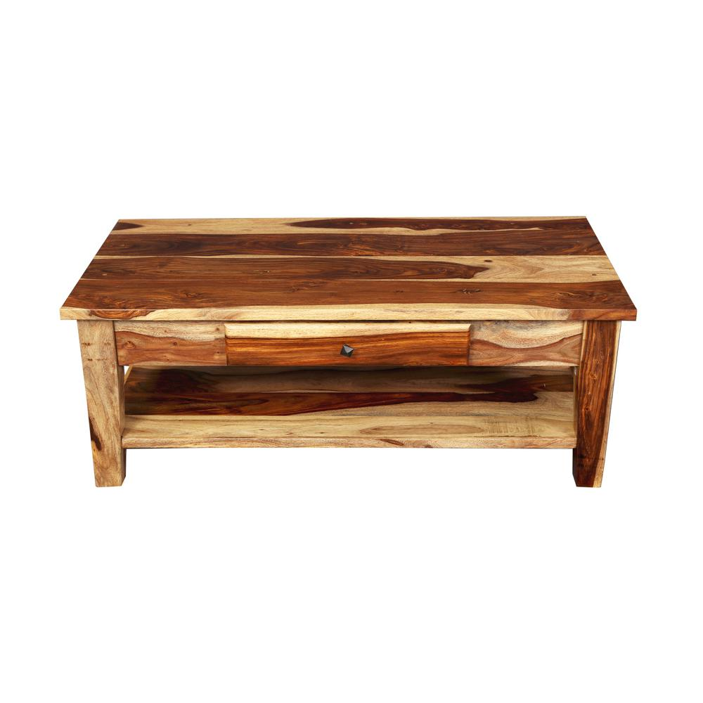 Taos Traditional Natural Solid Sheesham Wood Coffee Table With Drawer