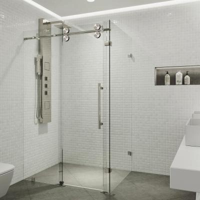 Winslow 34.625 in. x 74 in. Frameless Corner Bypass Shower Enclosure in Stainless Steel with Clear Glass