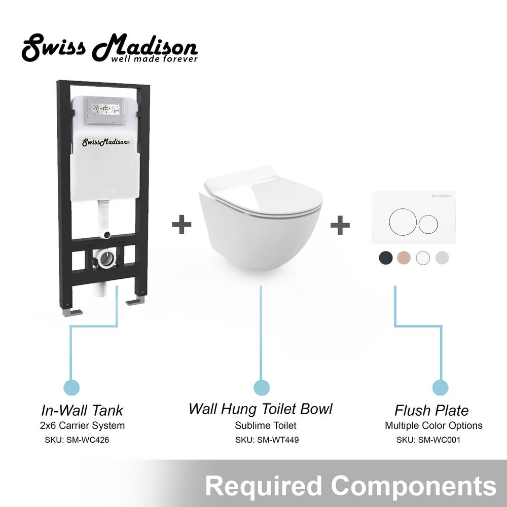 Swiss Madison Concealed In Wall Toilet Carrier System 2 In X 4 In For Wall Hung 1 28 Gpf Dual Flush Toilet Tank Only In Black