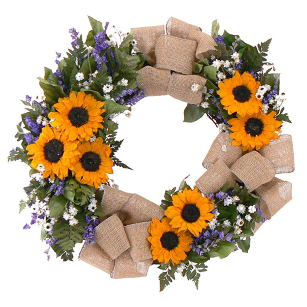 The Christmas Tree Company Sunflower Radiance 20 in. Dried Floral Wreath-DISCONTINUED