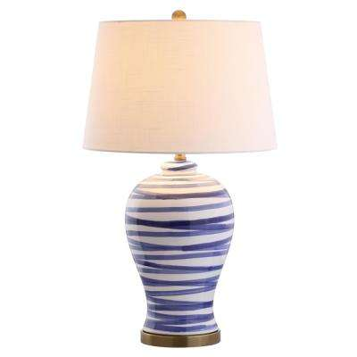 Joelle 29 in. Blue/White Ceramic Table Lamp