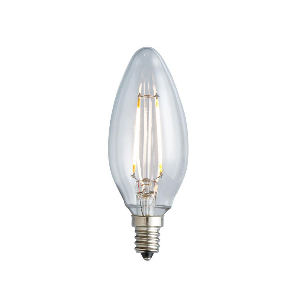 25w equivalent warm white b10 clear lens nostalgic candelabra blunt tip dimmable led light bulb