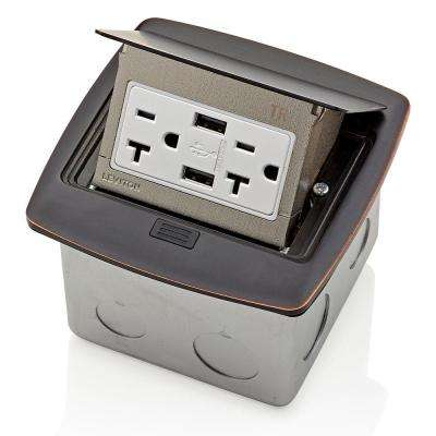Pop-Up Floor Box with Dual Type A, 3.6 Amp USB Charger, 20 Amp Outlet, Bronze