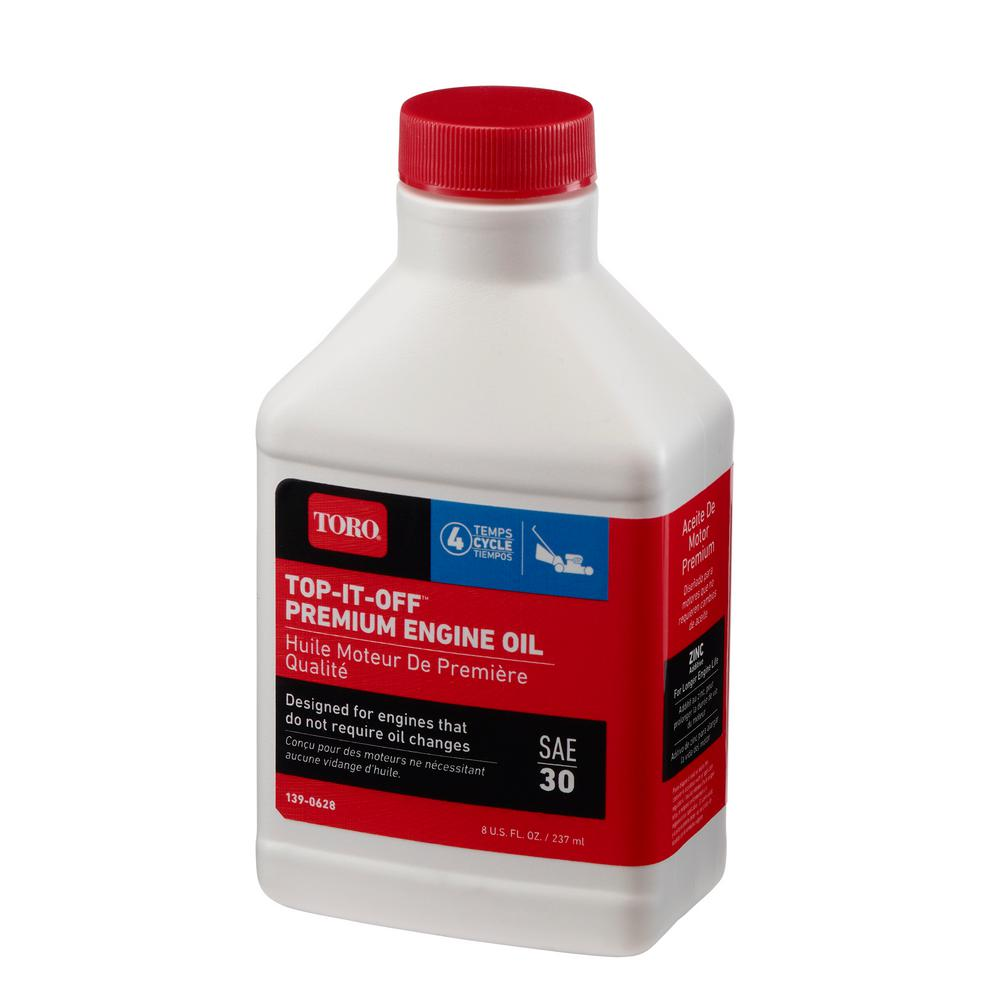 Toro 8 Oz Top It Off Sae 30 4 Cycle Premium Lawn Mower Engine Oil 139 0628 The Home Depot
